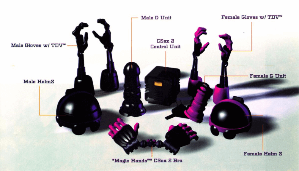 Hypothetical prototypes of cybersex gear and accessories.