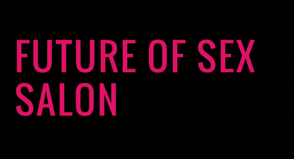 """Future of Sex Salon"" is written in hot pink in capital letter on a black horizonal rectangular background."
