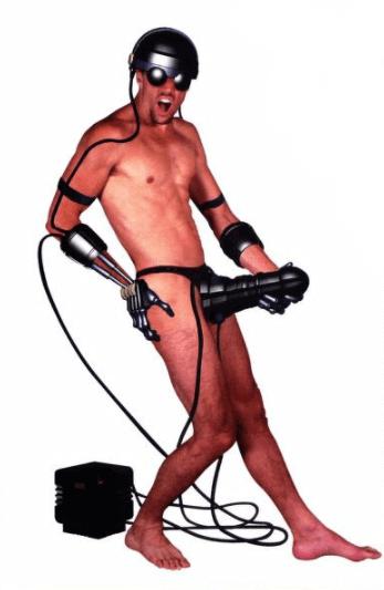 Man in fictional cybersex suit.