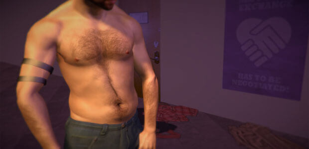 A man's bare and hairy chest is shown in this screenshot from the realistic sex game Hurt Me Plenty.
