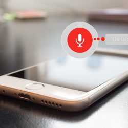 A photo of Google voice assistant on a phone.