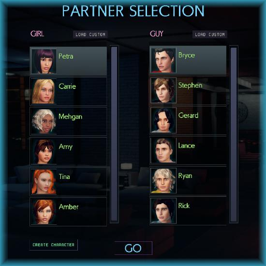 Six men and six women are avaiable to choose from as sex partners in the 3D sex game CityofSin3D.