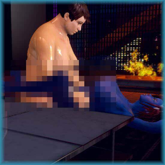 Two avatars from the 3D sex game CityofSin3D get intimate.