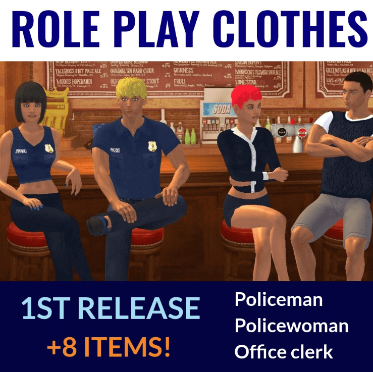 Online sex game Yareel shows four avatars wearing new role-playing costumes for police officers and secretaries.