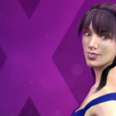 A animation of a fair-sklnned brunette appears before a purple X.
