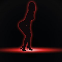 The silhouette of a woman, outlined in red, appears on a black background. The women is posed in a sexy stance, slightly bent and revealing she is wearing heels.