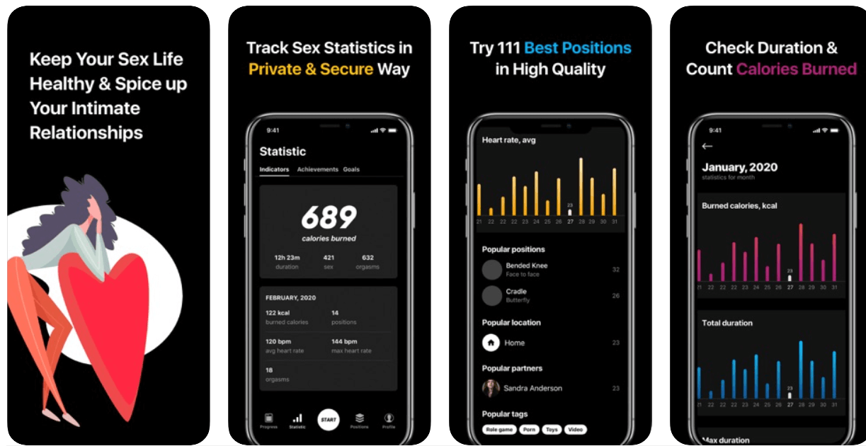 Screenshots of the Sex Keeper app shows graphs of charts of calories burned and other stats.