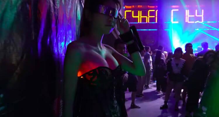 Wu's illuminated breasts