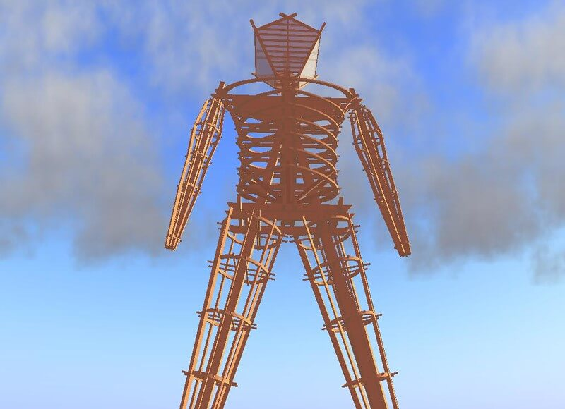 Animated burning man statue