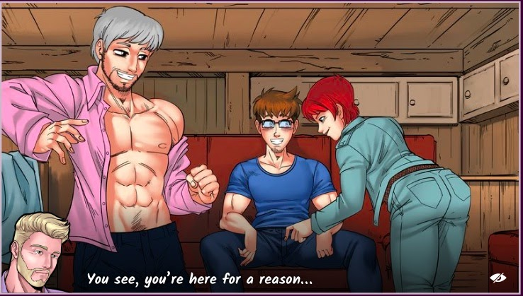 A screenshot from the gay male sex game Gay Harem shows attractive men.