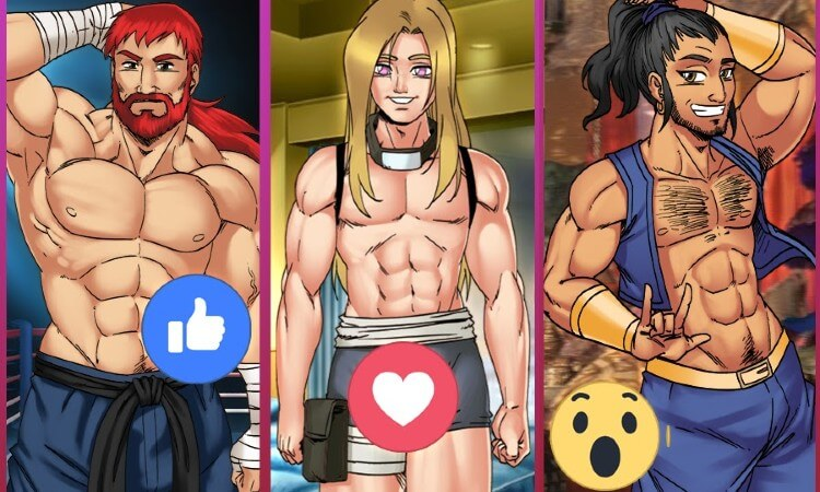 Three hot gay men with ripped abs from the RPG male sex game Gay Harem.