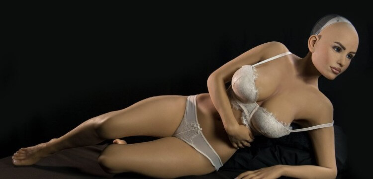 RealDoll's Harmony AI sex robot lying on side with no hair.