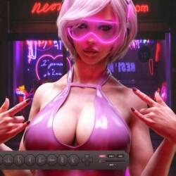 A screenshot of Cyberslut 2069, is a parody sex game of Cyberpunk 2077.