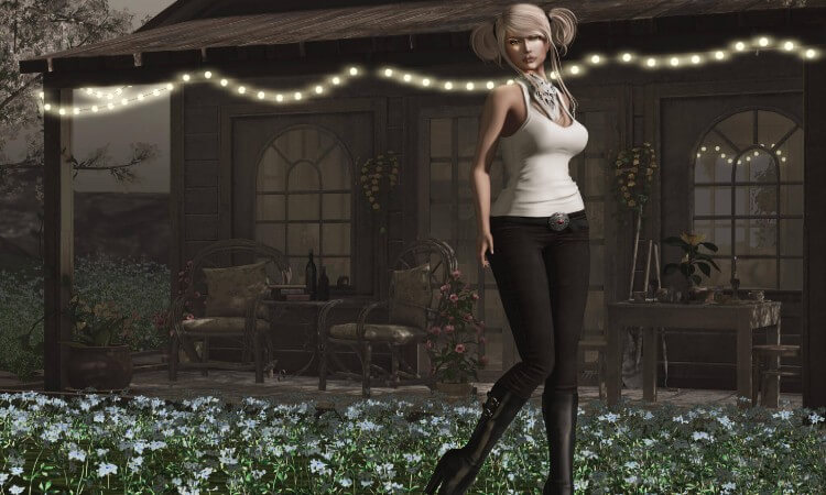 A girl with beautiful figure posing in MMO games, a scene from MMO game