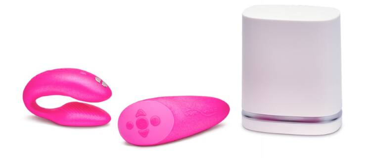 Image of We-Vibe Chorus Pink couples vibrator: a bluetooth device with an innovative Squeeze Remote