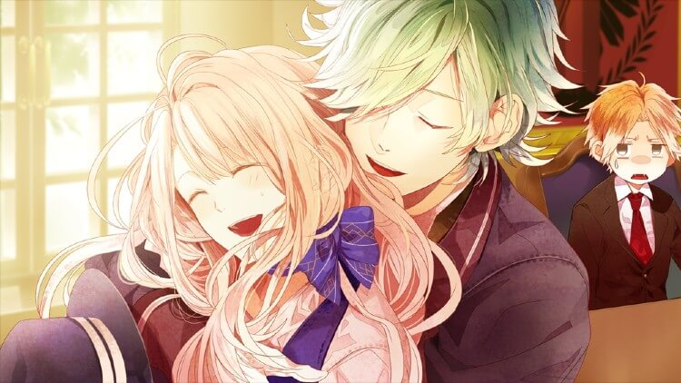 A screenshot from the otome anime game Ozmafia.