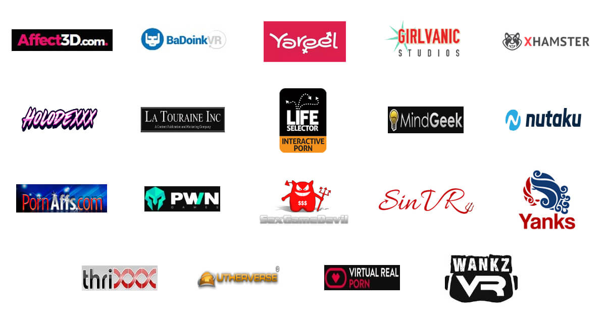A compilation of logos from adult entertainment and gaming companies.