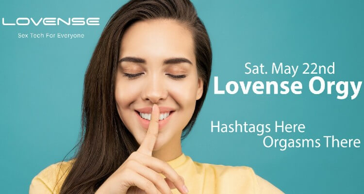 Screenshot of a Beautiful, Happy Girl with Closed Eyes in Lovense Orgy Banner