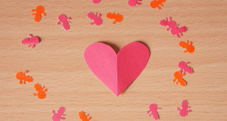 Image of Paper Heart and Human like Figure Cut-Outs