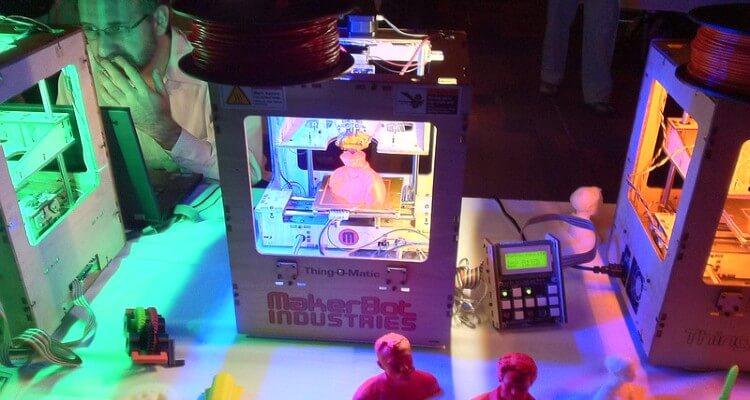 Screenshot of man printing models using 3D printing technology printers