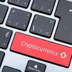 Cryptocurrency key on computer