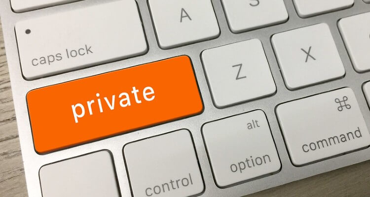 Image of keyboard with 'Private' orange key