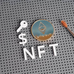NFT letters and ethereum-style coin with paintbrush