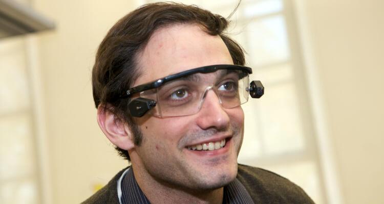 Man wearing Augment Reality glasses