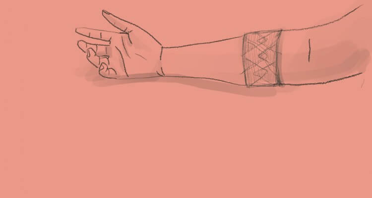 Sketch of right hand with a band wrapped on it