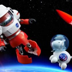 Image of Tenga Rocket and two TENGA-themed action figures: TENGA Robo and Egg Dog into the space
