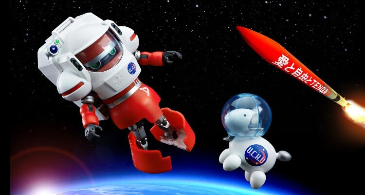 Image of Tanga Rocket and two TENGA-themed action figures: TENGA Robo and Egg Dog into the space