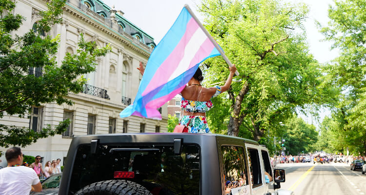 Person holding trans pride flag out of sunroof