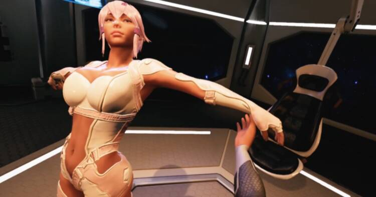 Screenshot of a sexbot from adult entertainment game
