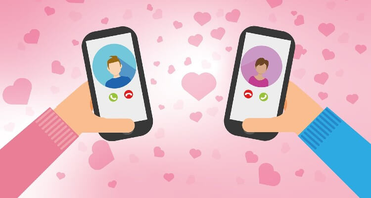 Picture of two mobiles in hands of dating couples