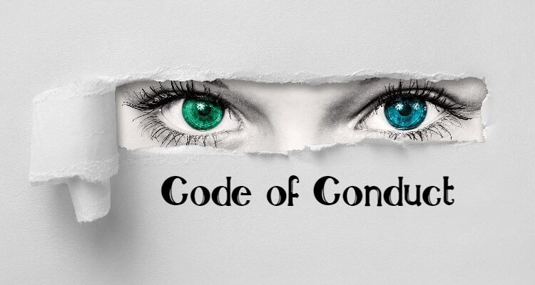 Image of ripped paper with eyes and Code of Conduct written on it