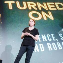 Speaker Kate Devlin talking on 'The Artificial Lover: Our Intimate Future with Machines' in Berlin