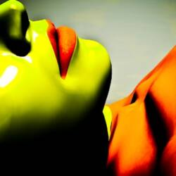 Screenshot of a women lying down and colored in green and orange