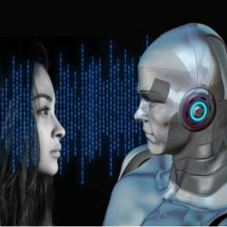Image of a robot and girl in binary code background