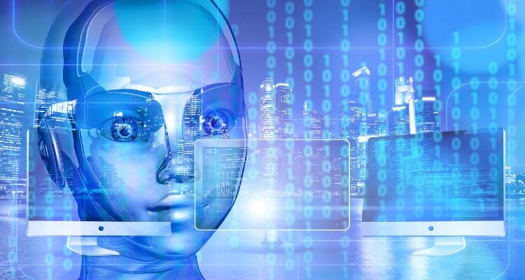 Image of artificially intelligence robot and binary code