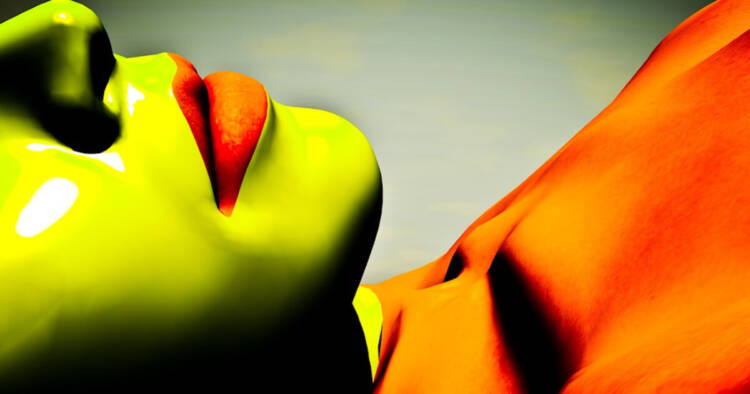 A screenshot of women lying down and colored in green and red color
